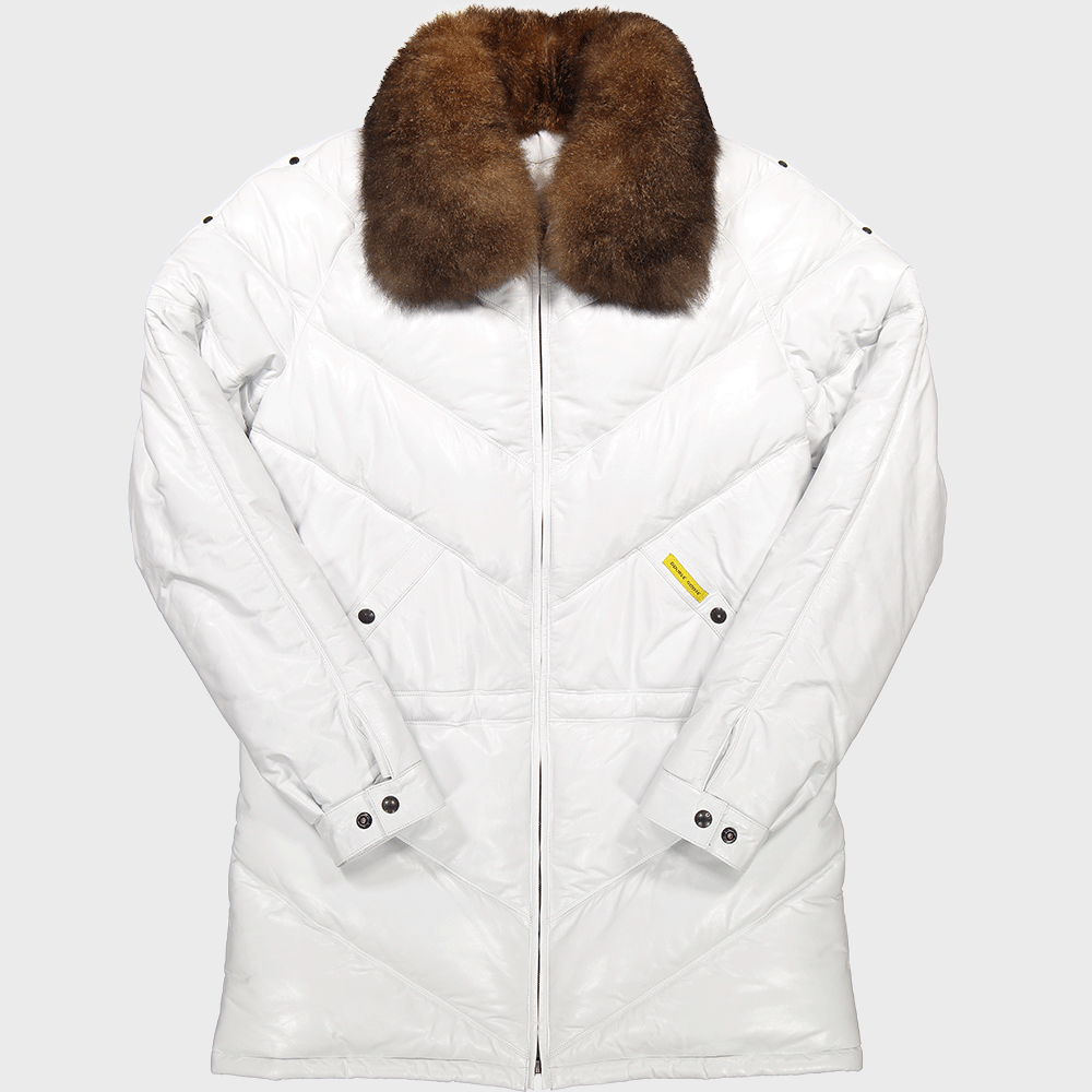 v coat v down leather coat double goose v stitched leather goose down puffer jacket off white with possum fur collar