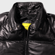 classic bomber double goose straight stitched leather goose down puffer jacket