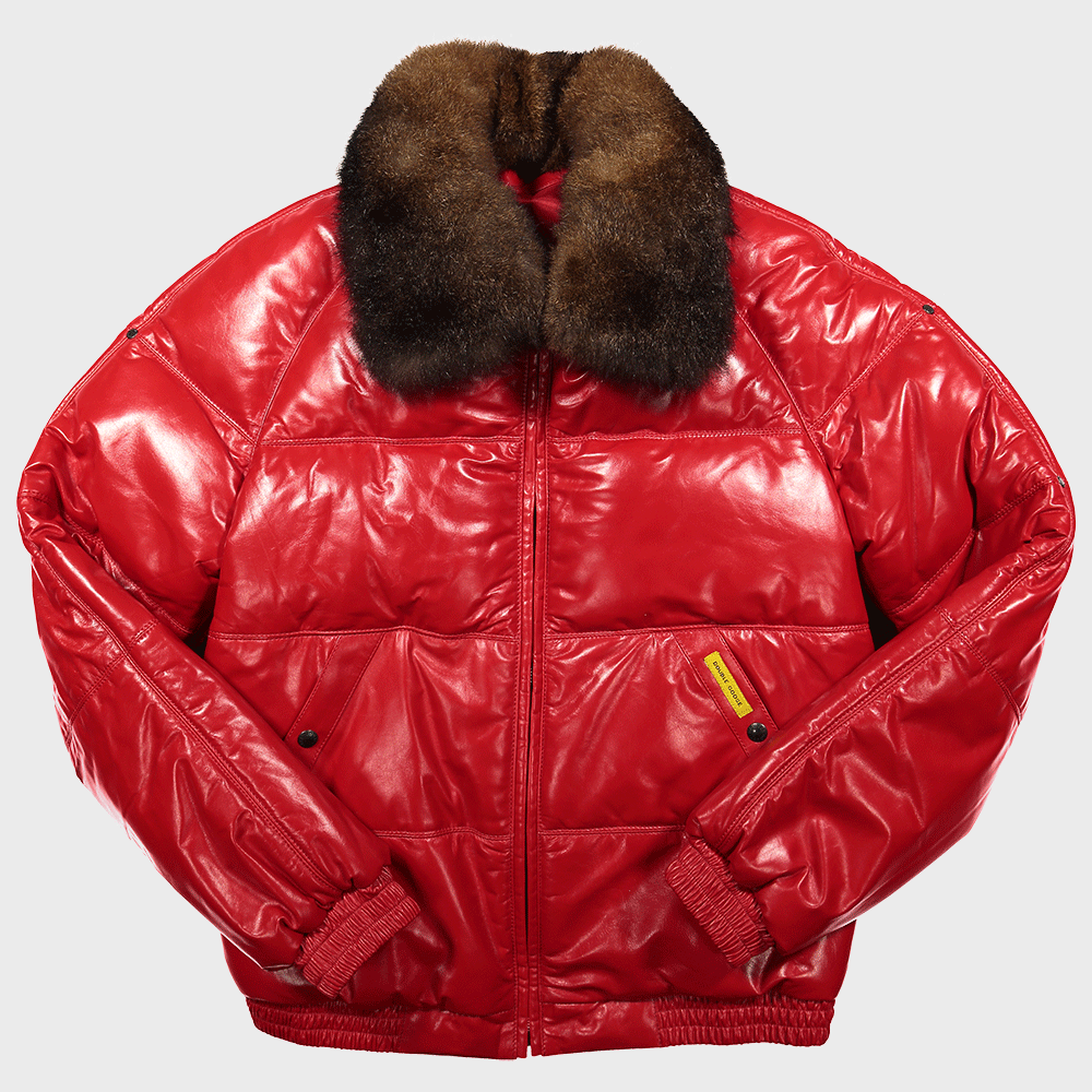 classic bomber double goose straight stitched leather goose down puffer jacket red