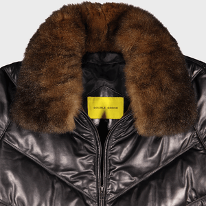 v bomber double goose v stitched leather goose down puffer jacket possum fur collar black