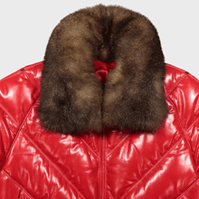 v bomber double goose v stitched leather goose down puffer jacket possum fur collar red