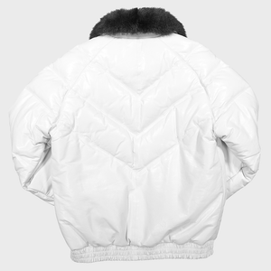 v bomber double goose v stitched leather goose down puffer jacket possum fur collar off white