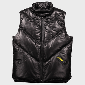v vest v down leather vest double goose v stitched leather goose down puffer jacket black