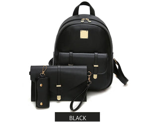 Fashion Composite Bag Pu Leather Backpack Women Cute 3 Sets Bag School Backpacks For Teenage Girls Black Bags Letter Sac A Dos