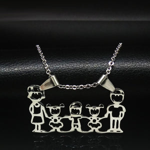 Mama Family Necklaces Jewelry Silver Color Love Boy Girl Pendant Choker Necklace Women Gift Stainless Steel Necklace