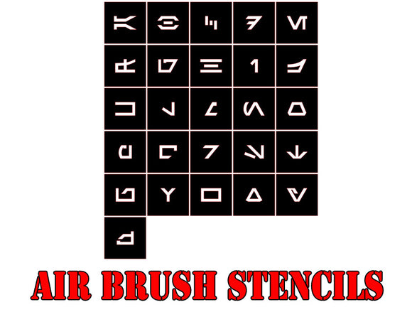 Star Wars X-Wing Arebesh Alphabet Airbrush Paint Mask / Stencil Set
