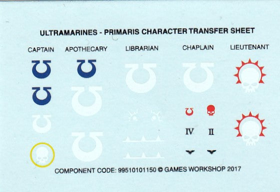 Ultramarines - Primaris Character Transfer Sheet