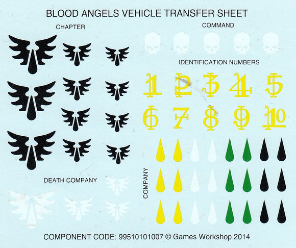 Blood angels Veicle Transfer Sheet