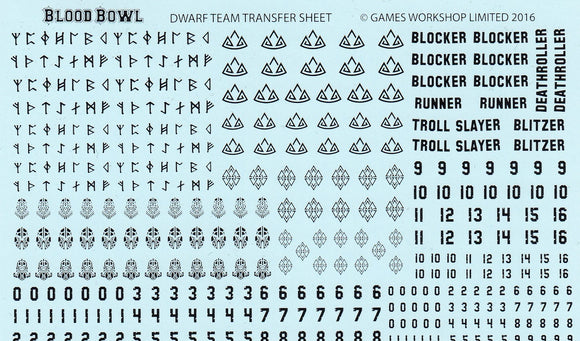 Blood Bowl Dwarf Team Transfer Sheet Black