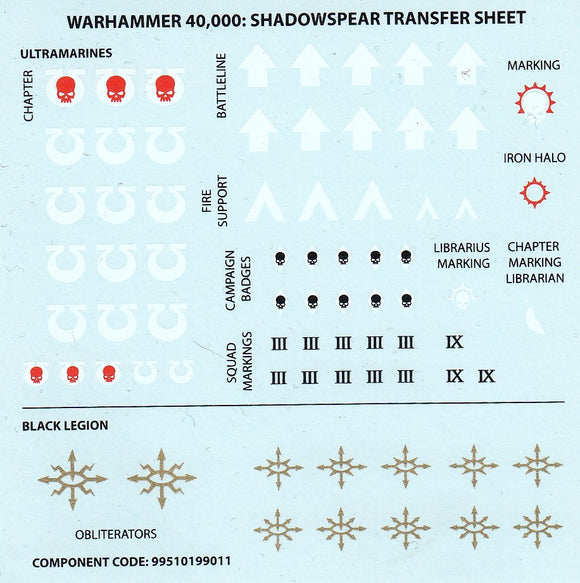 Warhammer 40,000 Sdahowspear Transfer Sheet