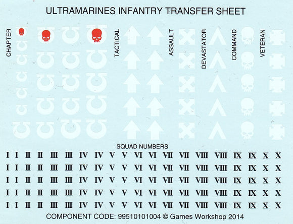Ultramarines - Ininfity Transfer Sheet (B)