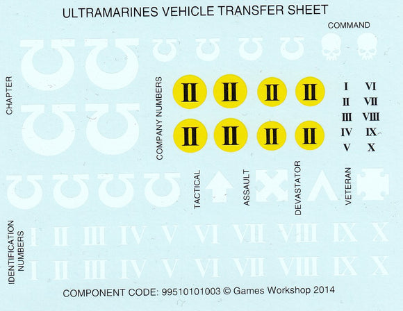 Ultramarines - Vehicle Transfer Sheet