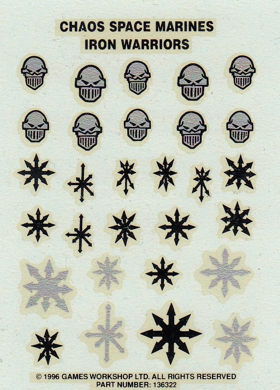 Chaos Space Marines Iron Warriors Transfer Sheet