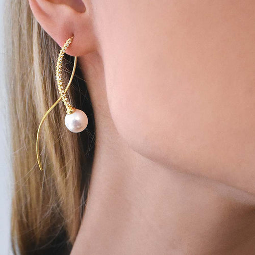 Le Pearl Earrings Diamonds Gold