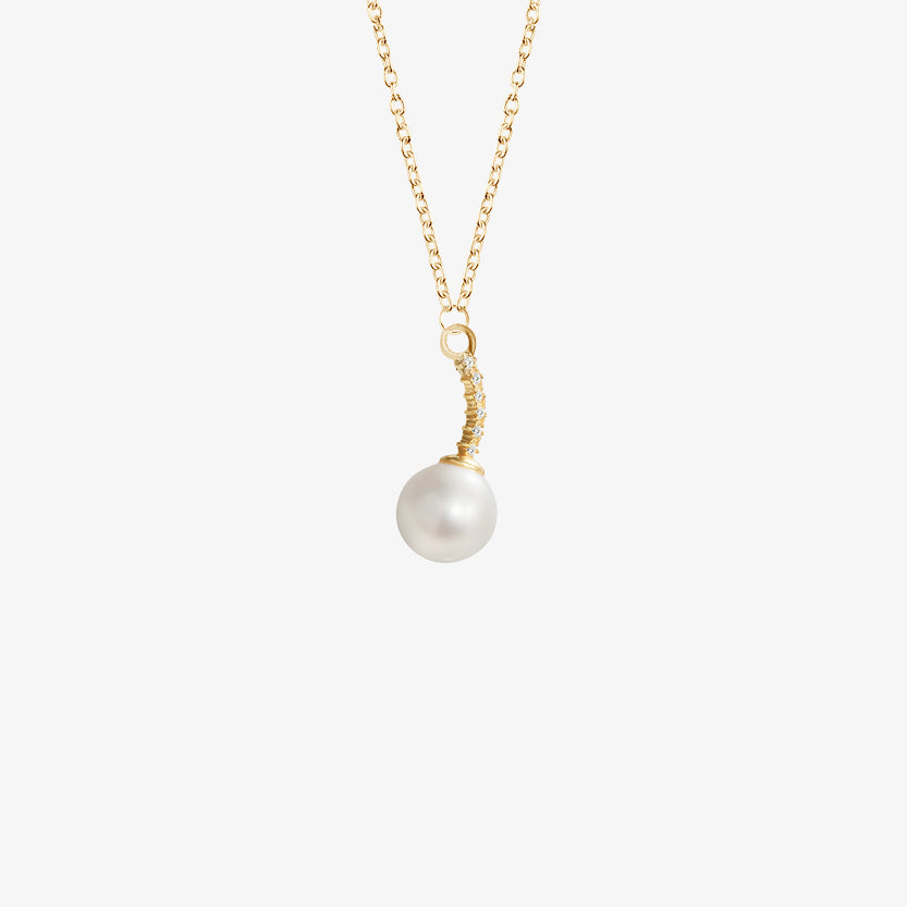 Le Pearl Single Necklace Diamonds Gold