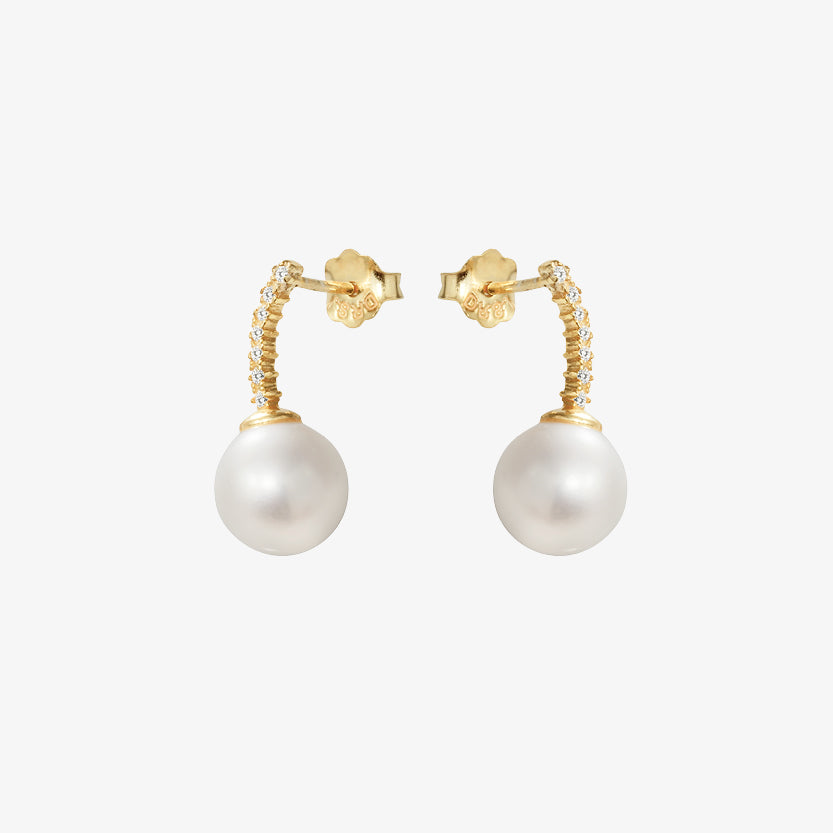 Le Pearl Studs Diamonds Gold