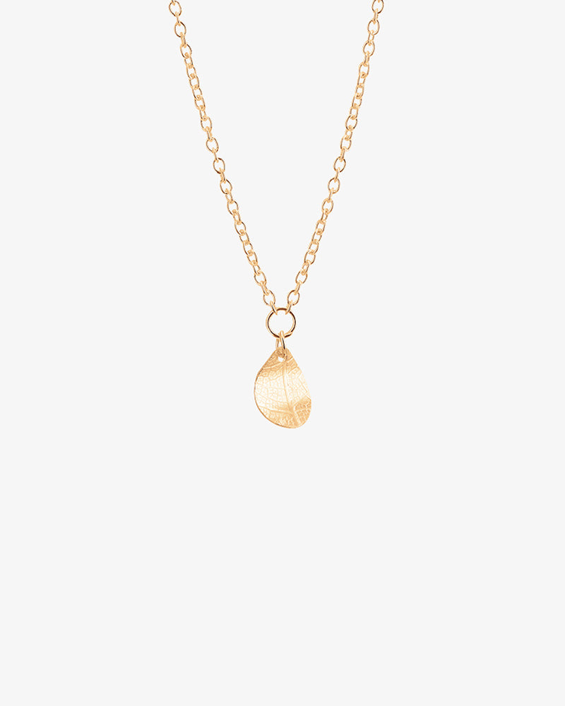 Leaf Drop Necklace Gold