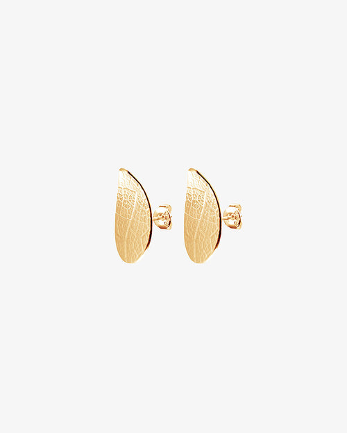 Leaf Drop Studs Fixed Gold