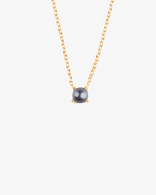 Petite Pearl Midnight Necklace Gold