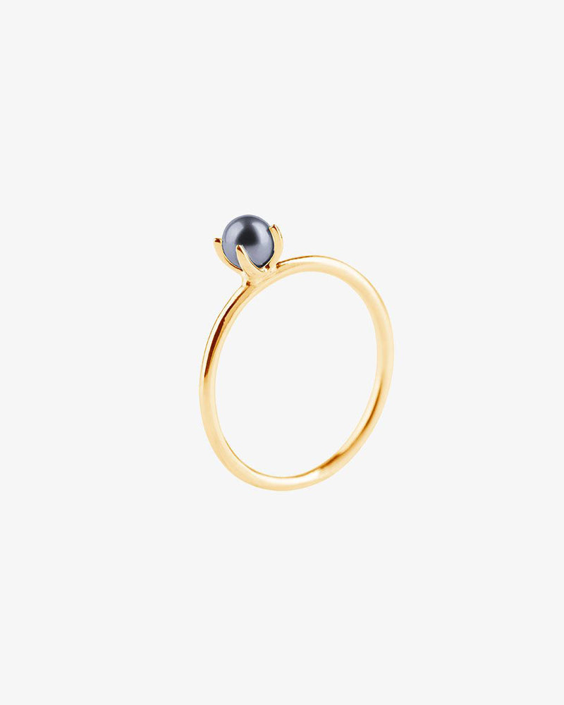 Petite Pearl Midnight Ring Gold