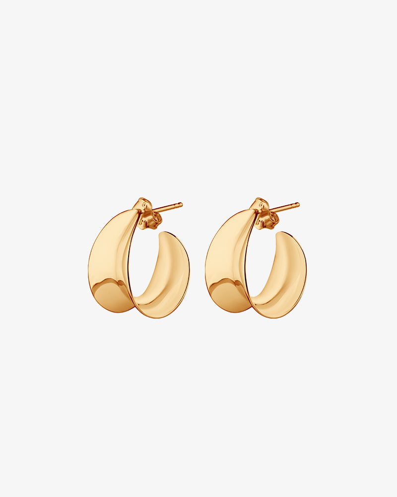 Wave Small Hoops gold
