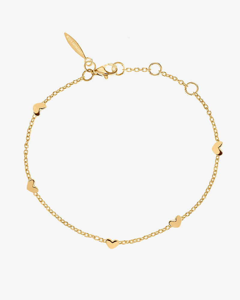 Loving Heart Drop Full Bracelet Gold