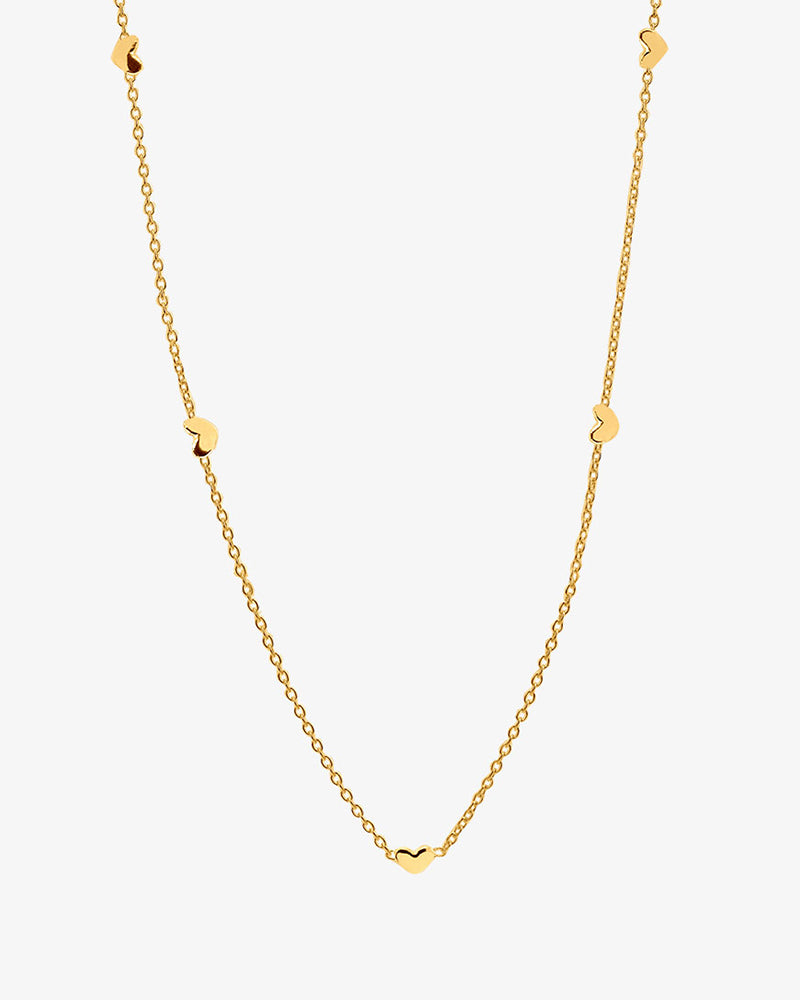 Loving Heart Drop Full Necklace Gold