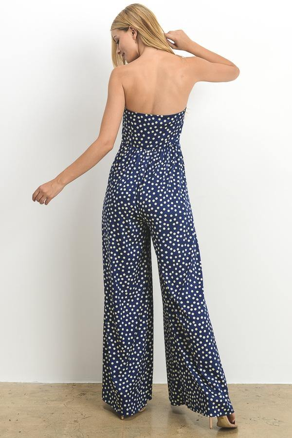 STRAPLESS POLKA DOT JUMPSUIT IN NAVY - elbie boutique, LLC