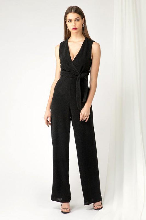 Slimming black sleeveless Adelyn Rae Jumpsuit. Perfect for special occasions, weddings, date night, and special events. Perfect fit and classic.