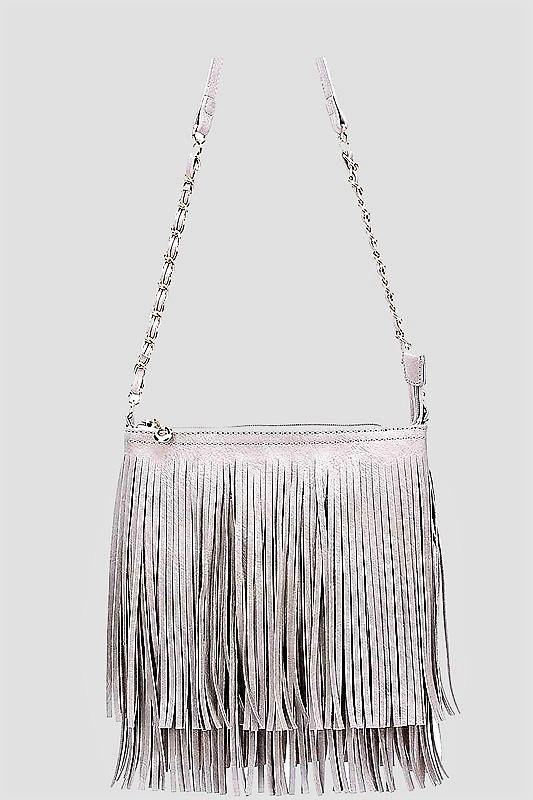 WHITE FRINGE CROSSBODY BAG - elbie boutique, LLC