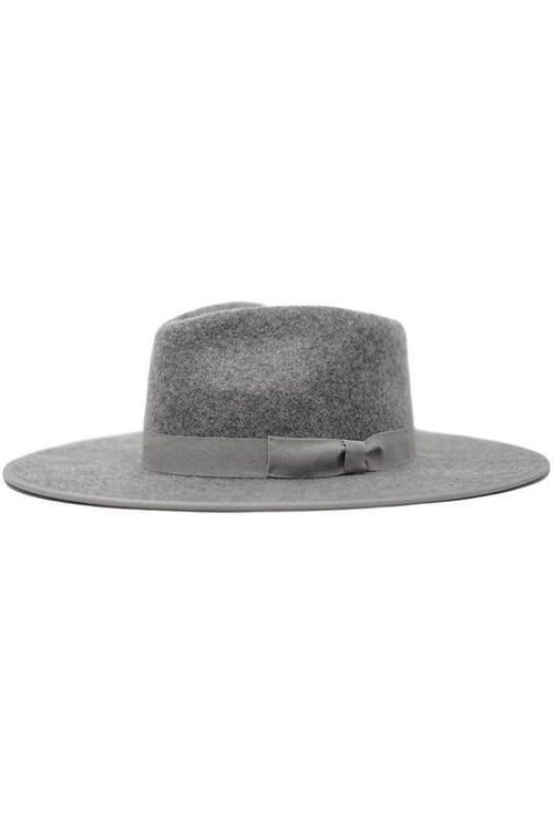 OLIVE AND PIQUE FEDORA WOOL WIDE BRIM HAT (GREY)