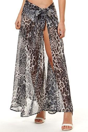 LEOPARD PRINT SARONG COVER UP (GREY)