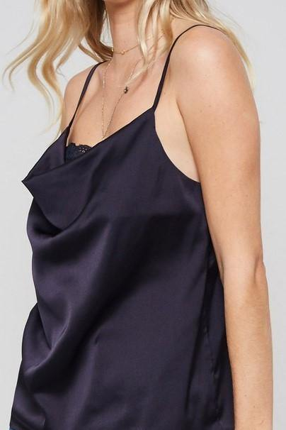 COWL NECK SATIN LACE CAMI