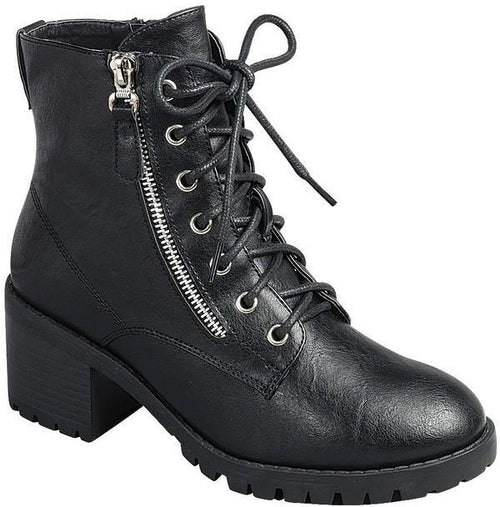 LAINE ZIPPER LUG SOLE BOOTIES
