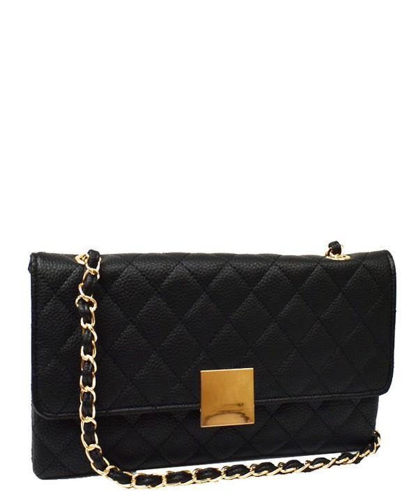 QUILTED CHAIN SHOULDER HANDBAG (BLACK) - elbie boutique, LLC
