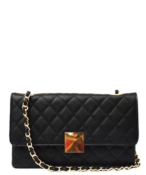 QUILTED CHAIN SHOULDER HANDBAG (BLACK)