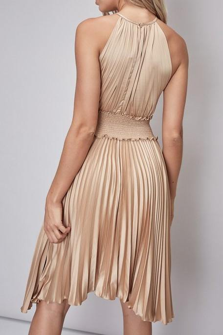 SIERRA SMOCK PLEATED DRESS - elbie boutique, LLC