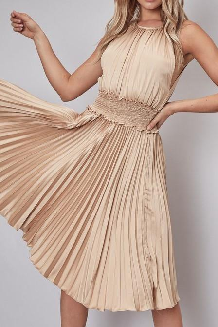 SIERRA SMOCK PLEATED DRESS