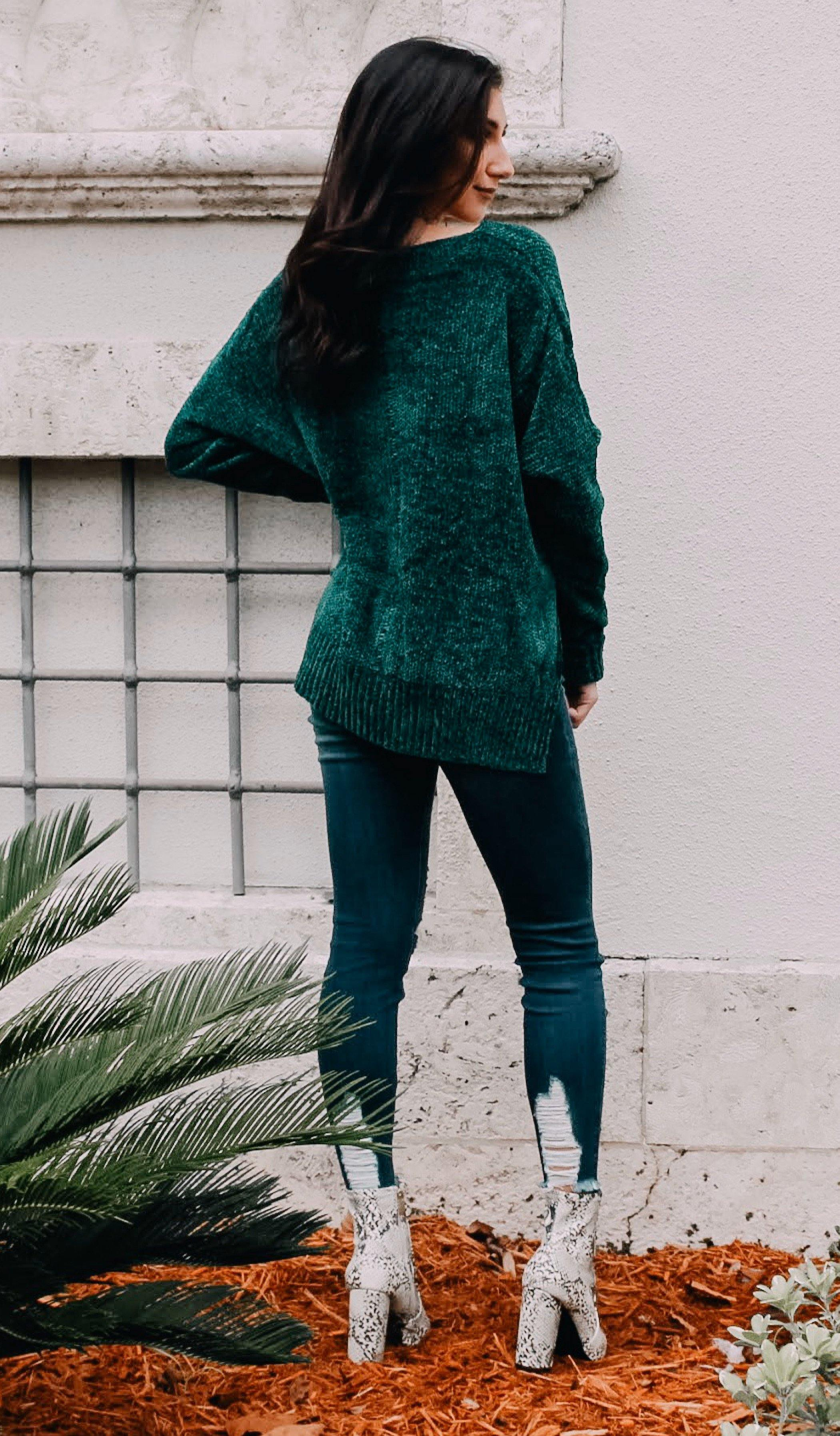 EVELYN CHENILLE SWEATER - elbie boutique, LLC