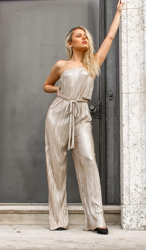 LET'S PARTY PLEATED JUMPSUIT