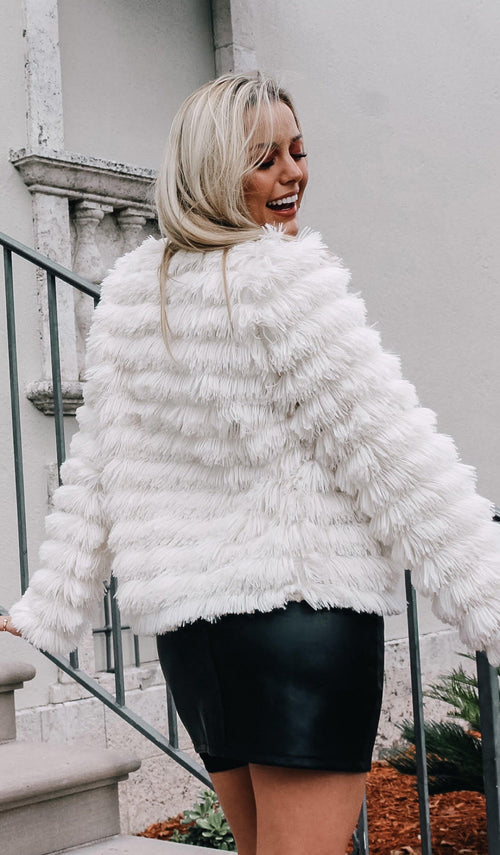 SHAGGY FAUX FUR JACKET - elbie boutique, LLC