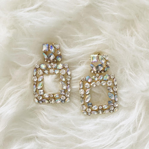 RHINESTONE SQUARE EARRINGS - elbie boutique, LLC