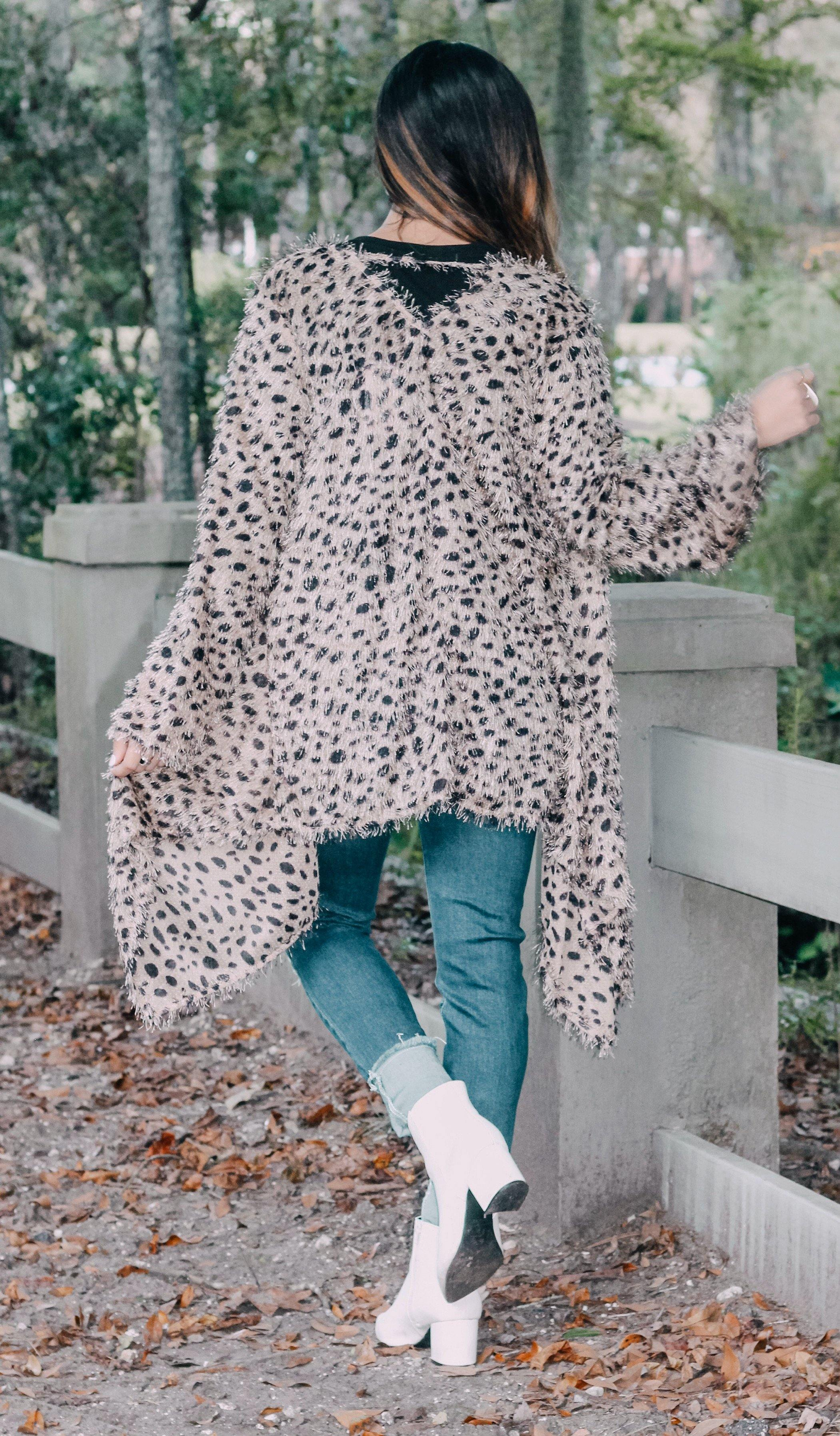 ANIMAL PRINT FUZZY CARDIGAN - elbie boutique, LLC