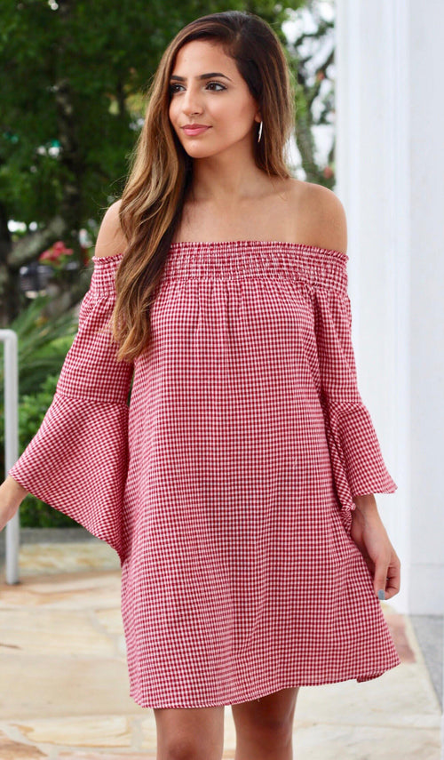 CHASITY GINGHAM DRESS - elbie boutique, LLC