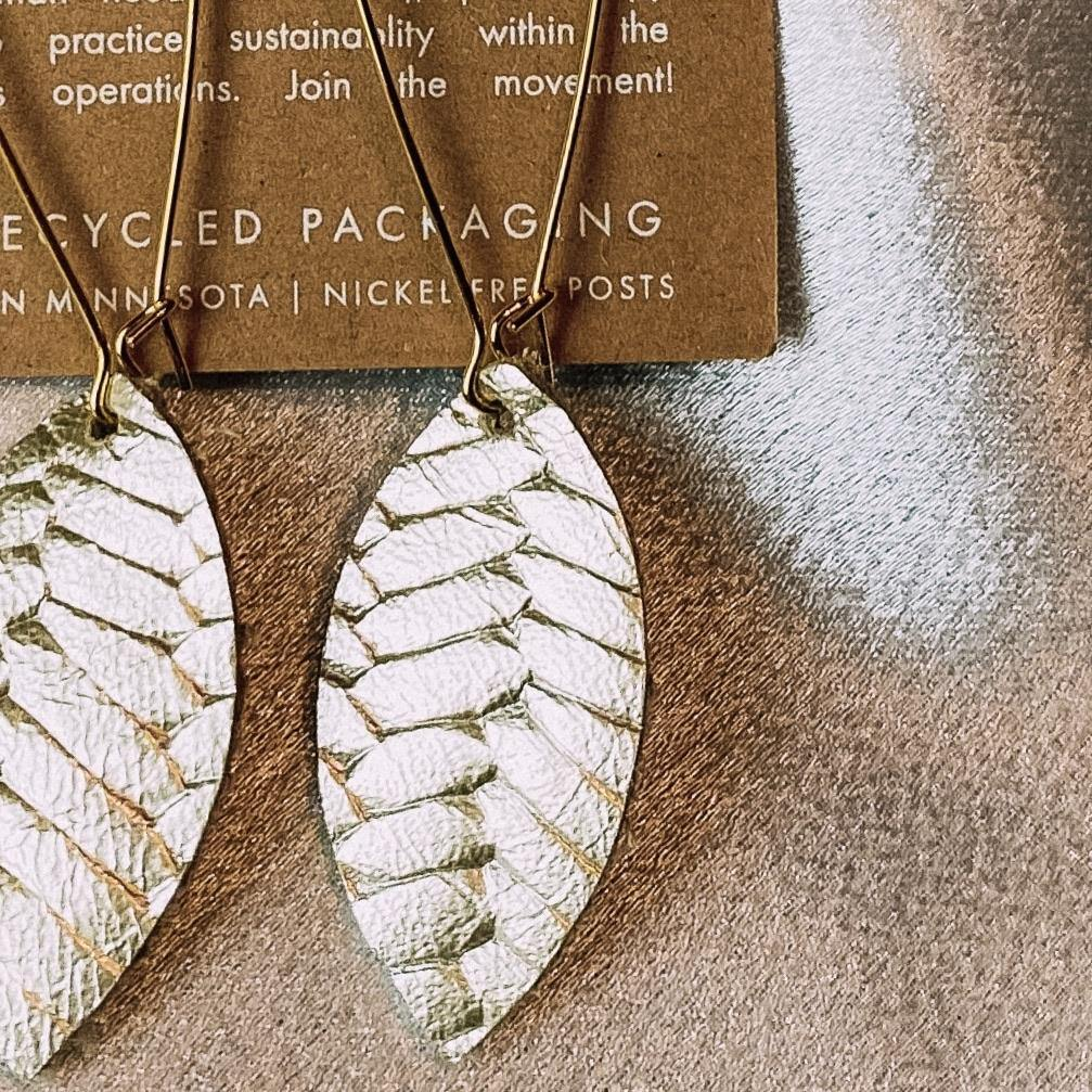 CHAMPAGNE LEAF EARRINGS