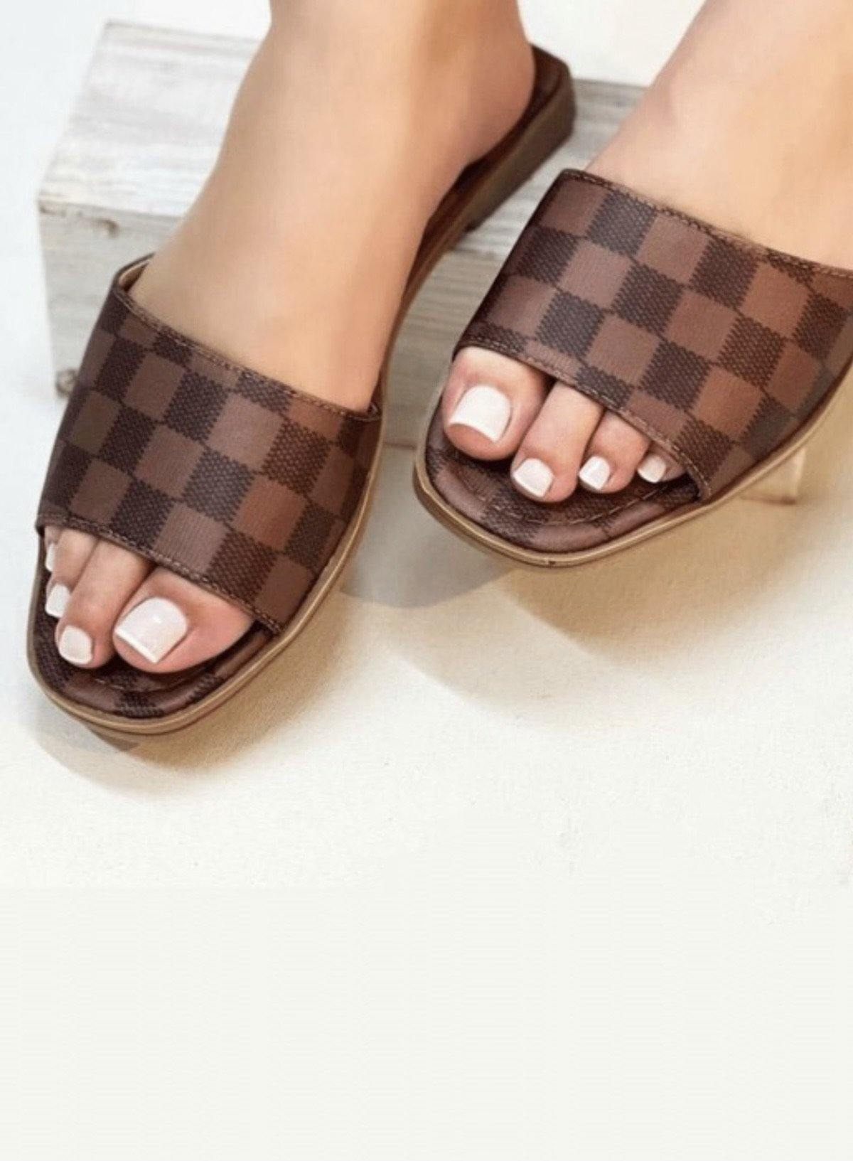 Kendall Checkered Slides