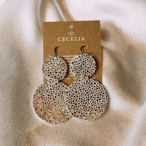GOLD BUBBLE LEATHER EARRINGS