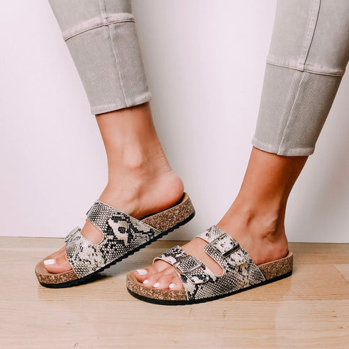 Snake Print Buckle Slide Sandals - elbie boutique, LLC