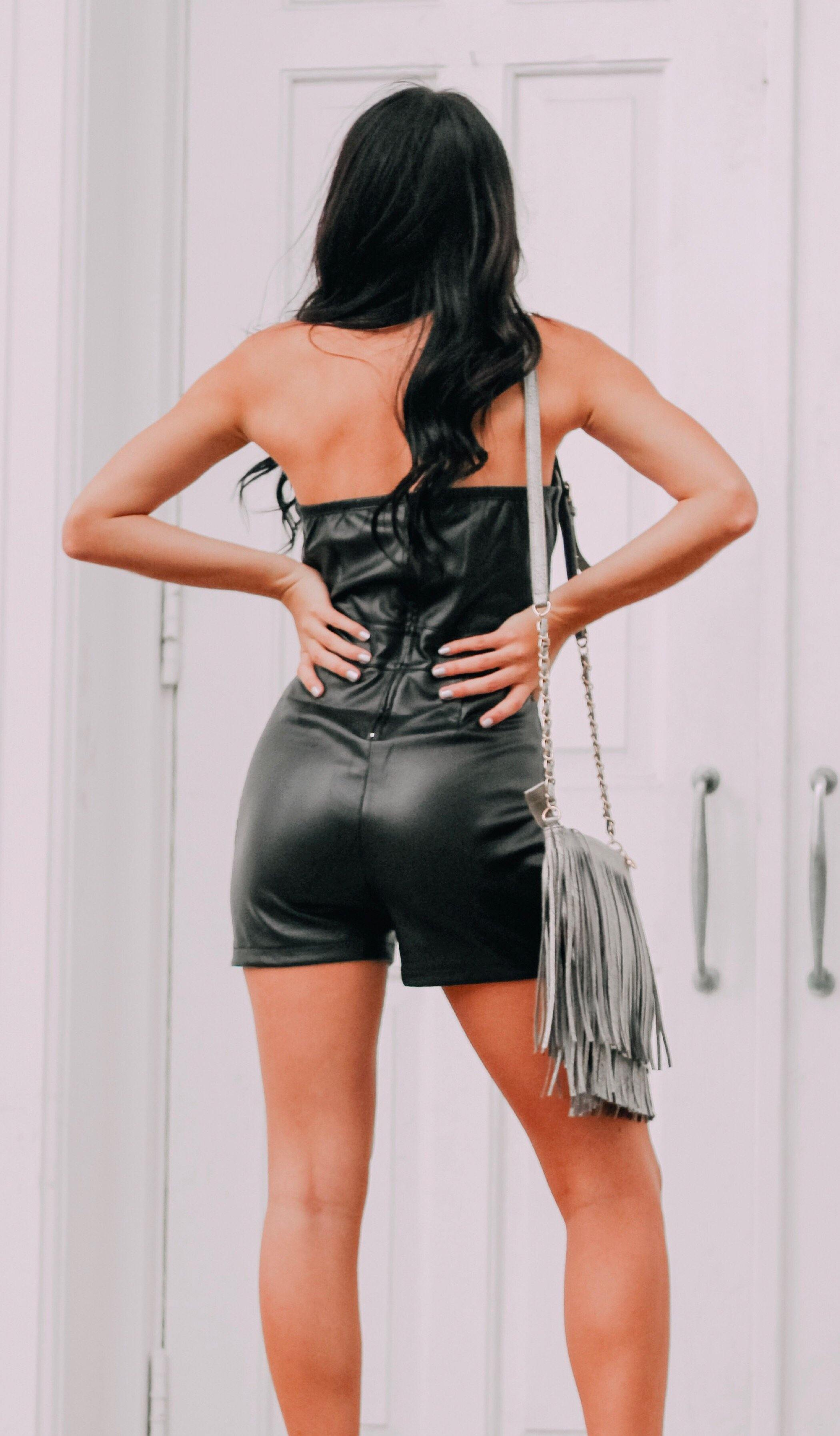 ON THE EDGE LEATHER ROMPER - elbie boutique, LLC