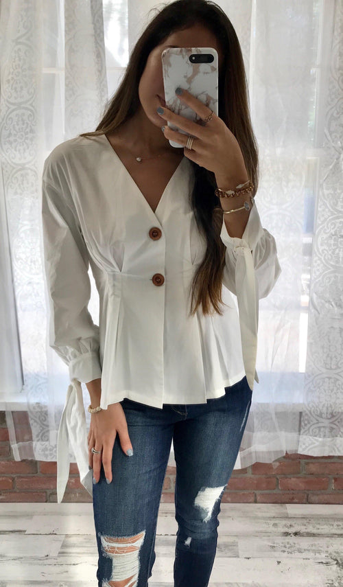 WHITE PEPLUM TOP - elbie boutique, LLC